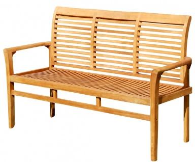 TEAK Design Gartenbank 150cm Parkbank Sitzbank 3-Sitzer Bank Gartenmöbel Holz sehr robust Modell: JAV-ALPEN von AS-S