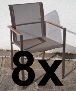 AS-S 8Stk Designer Gartenstuhl mit Armlehne KUBA-BRAUN Gastroqualität Stapelsessel Gartensessel Stapelstuhl Sessel Edelstahl Batyline Textilene Teak stapelbar sehr robust