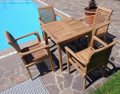 ECHT TEAK Set Gartentisch 80x80cm + 4x Sessel ALPEN