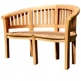 TEAK XL Bananenbank Gartenbank Parkbank Sitzbank 2-Sitzer Bank Gartenmöbel 120cm Holz sehr robust Model JAV-COCO von AS-S