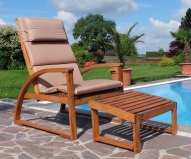 Deckchair extra large Sonnensessel BARBUDA aus Holz Lärche mit Sitzauflage und Kopfpolster extrem robust inkl. Fußauflage
