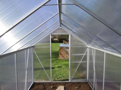 7, 05m² ALU Aluminium Gewächshaus Glashaus Tomatenhaus, 6mm Hohlkammerstegplatten - (Platten MADE IN AUSTRIA/EU) mit Stahlfundament und 2 Fenster - Vorschau 4