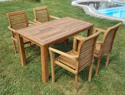 ECHT TEAK Gartenset Bigfoot Tisch 140x80 + 4 Sessel ALPEN Holz