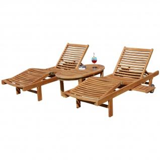 2x Hochwertige TEAK Sonnenliege Gartenliege Strandliege Liegestuhl Holzliege Holz sehr robust Modell: COZY+ 1x Beistelltisch COCO 110x50cm