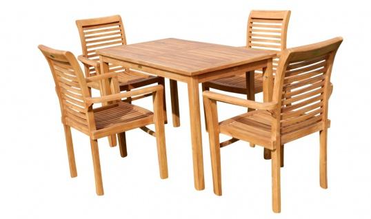 Teak Set Gartengarnitur Gartentisch 120x70 cm mit 4 Sessel Holz Serie JAV-ALPEN