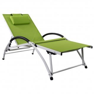 AS-S Gartenliege Sonnenliege Fitnessliege stabile Aluminium Konstruktion mit atmungsaktiven Kunststoffgewebe und Kopfpolster FIT-GRÜN