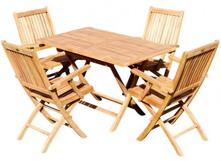 TEAK SET: Gartengarnitur Klapptisch 120x70cm + 4 Klappsessel mit Armlehne Holz JAV-AVES