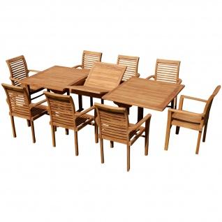TEAK SET: Gartengarnitur Tobago Ausziehtisch 180-240cm x 100cm + 8 Alpen Sessel Holz JAV