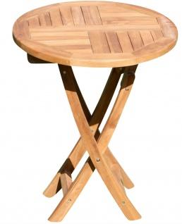 ASS echt TEAK Holz Klapptisch Holztisch rund 60cm Gartentisch Garten Tisch COAMO Teakholz