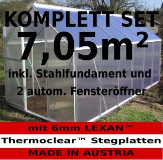 KOMPLETTSET: 7, 05m² ALU Aluminium Gewächshaus Glashaus Tomatenhaus, 6mm Hohlkammerstegplatten - (Platten MADE IN AUSTRIA/EU) m. Stahlfundament, 2 Fenster mit 2 autom. Fensteröffner