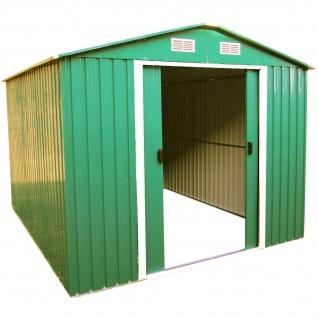 Gartenhaus Geräteschuppen 9m² 3x3m aus verzinktem Stahlblech Metall grün von AS-S