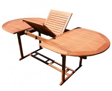 Ausziehtisch 150-200 x 100cm Holztisch Gartentisch Garten Tisch oval geölt Holz Eukalyptus Hartholz wie Teak