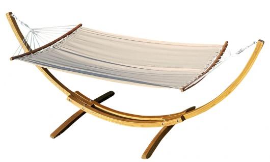 AS-S 320cm Hängemattengestell HM3-BRAUN-BENT Hängematte mit Gestell aus Holz Lärche mit Stab Hängematte NEU: mit gebogenem Stab