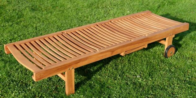 AS-S ECHT TEAK Sonnenliege Gartenliege Strandliege Holzliege Holz vielfach verstellbar mit Tisch sehr robust Modell: JAV-COZY - Vorschau 3