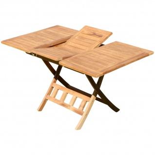 TEAK Ausziehtisch 100-140 x 80cm klappbar Holztisch Klapptisch Gartentisch Tisch aus Teakholz JAV-AVES-AUSZIEH-100/140