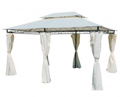 AS-S Eleganter Gartenpavillon 3x4 Meter, Dach 100% WASSERDICHT UV30+, 12m², mit 6 Vorhängen, rechteckig Modell: ELBA 3x4