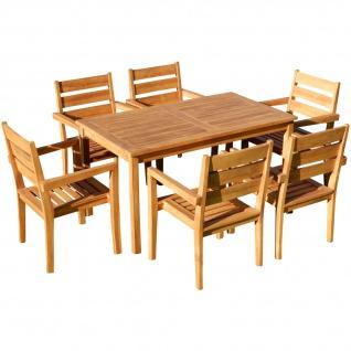 TEAK SET: Gartengarnitur Alpen Tisch 150x80 + 6 Kingston Sessel Serie JAV