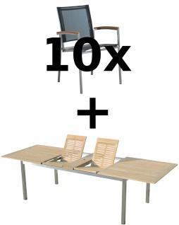 AS-S Gartengarnitur Edelstahl Batyline A-Grade Teak Holz Set: Ausziehtisch 200/240/280 x 100 cm + 10 Sessel Serie KUBA-SCHWARZ Gastroqualität