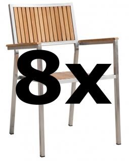 AS-S 8Stk Designer Gartenstuhl mit Armlehne Gartensessel Stapelstuhl Stapelsessel Sessel KUBA-TEAK Edelstahl Teak A-Grade stapelbar sehr robust Gastroqualität