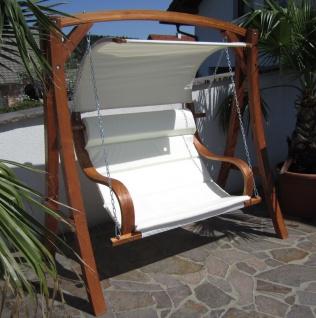 AS-S edle Hollywoodschaukel Gartenschaukel MERU mit Dach Holzgestell mit Doppelsessel aus Holz Lärche - Vorschau 4