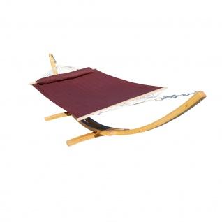 410cm XXL Hängemattengestell NATUR-FILLED EDITION BRAUN aus Holz Lärche mit Stab Hängematte (GEPOLSTERT) und Kissen
