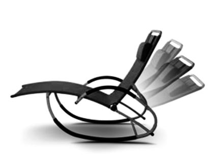 Liegestuhl Schwingstuhl Schaukelstuhl Schaukelliegestuhl mit atmungsaktiven Kunststoffgewebe Rückenlehne verstellbar + Kopfpolster KRETA-SCHWARZ - Vorschau 3