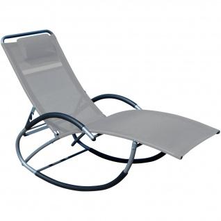 AS-S Liegestuhl Schwingliege Gartenliege Schaukelstuhl mit atmungsaktiven Kunststoffgewebe Rückenlehne verstellbar + Kopfpolster KRETA GRAU
