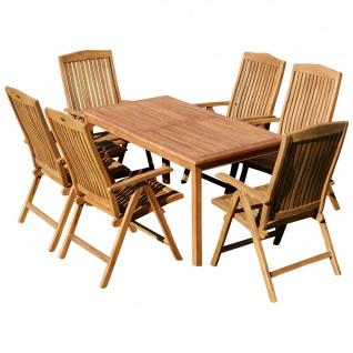 AS-S Teak Set Gartengarnitur Alpen Tisch 150x80 cm und 6 Tobago Sessel Serie JAV