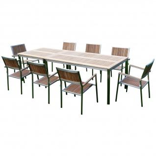 AS-S Gartengarnitur Edelstahl Teak Set: Tisch 160x90 cm + Tisch 90x90cm + 8 Teak Sessel A-Grade Teak Holz Serie KUBA Gastroqualität