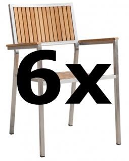 6Stk Designer Gartenstuhl mit Armlehne KUBA-TEAK Gartensessel Stapelstuhl Stapelsessel Sessel Edelstahl Teak A-Grade stapelbar sehr robust
