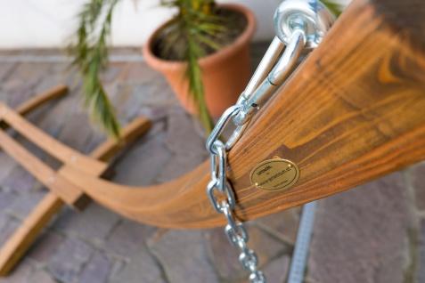 415cm XXL Luxus Hängemattengestell PANAMA-XXL aus Holz Lärche coffee-braun mit beiger Stab Hängematte - Vorschau 5