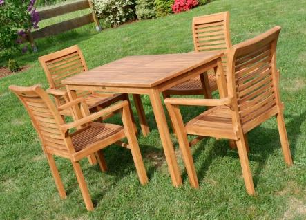 AS-S Teak Set Gartengarnitur Gartentisch 120x70 cm mit 4 Sessel Holz Serie JAV-ALPEN - Vorschau 2