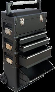 Metall Werkzeugtrolley XXL Type: C1-B BLACK EDITION schwarz mit Schubladenverriegelung und Schloss