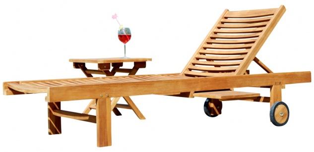 Hochwertige TEAK Sonnenliege Gartenliege Strandliege Liegestuhl Holzliege Holz sehr robust Modell: COZY+ Beistelltisch 45x45cm