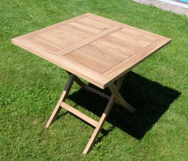 TEAK klappbarer Gartentisch 80x80 cm AVES