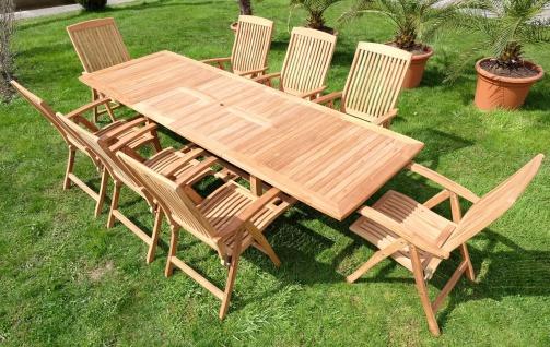 Edle TEAK XXXL Gartengarnitur Gartenset Ausziehtisch 200-250-300cm + 8 Hochlehner Sessel TOBAGO Holz geölt