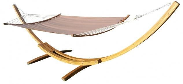 415cm XXL Luxus Hängemattengestell PANAMA-BRAUN-BENT aus Holz Lärche coffee-braun mit ergoonomisch geformter Stab Hängematte
