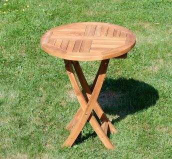 ECHT TEAK Gartentisch Klapptisch Holztisch Gartentisch Tisch rund 60cm JAV-COAMO
