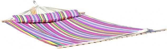 DESIGN Stabhängematte Hängematte Doppelhängematte Ersatzhängematte 200x150cm aus Baumwolle gefüllt mit Polster pink gestreift von AS-S