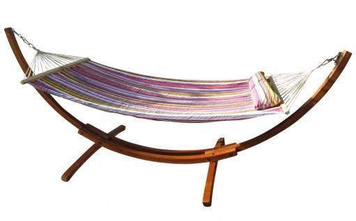 320cm Hängemattengestell XL LIMITED EDITION aus Holz Lärche mit Stab Hängematte gefüttert und Polster Schrauben aus Edelstahl - Vorschau 1