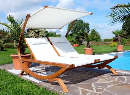 Doppel - Sonnenliege TULUM extrabreit für 2 Personen mit verstellbarem Dach aus Holz Lärche - Vorschau 5