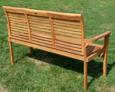 TEAK Design Gartenbank 150cm Parkbank Sitzbank 3-Sitzer Bank Gartenmöbel Holz sehr robust Modell: JAV-ALPEN von AS-S - Vorschau 5