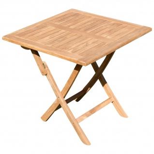 ECHT TEAK Klapptisch Holztisch Gartentisch Garten Tisch 80x80 cm JAV-AVES Holz