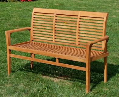 TEAK Design Gartenbank 150cm Parkbank Sitzbank 3-Sitzer Bank Gartenmöbel Holz sehr robust Modell: JAV-ALPEN von AS-S - Vorschau 2