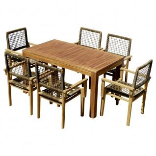 echt TEAK Set Gartengarnitur Gartenset Gartentisch BIGFUSS 140x80cm + 6 Sessel RIO mit Armlehnen stapelbar
