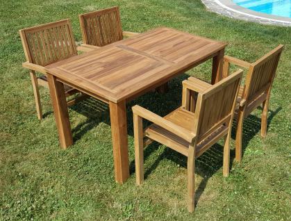 ECHT TEAK Gartenset Bigfoot Tisch 140x80 + 4 Sessel MIAMI stapelbar Holz