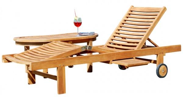 Hochwertige TEAK Sonnenliege Gartenliege Strandliege Liegestuhl Holzliege Holz sehr robust Modell: COZY+ Beistelltisch COCO 110x50cm