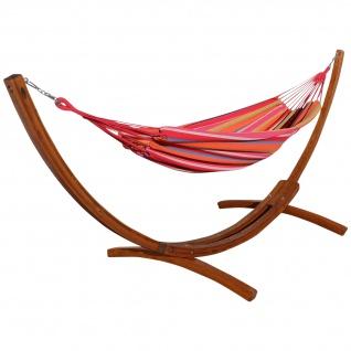 350cm Hängemattengestell MONA aus Holz Lärche mit bunter Tuch Hängematte