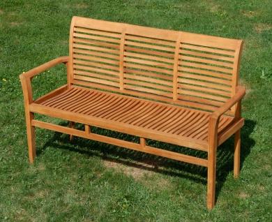 TEAK Design Gartenbank 150cm Parkbank Sitzbank 3-Sitzer Bank Gartenmöbel Holz sehr robust Modell: JAV-ALPEN von AS-S - Vorschau 3