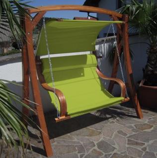 ASS Hollywoodschaukel Gartenschaukel MERU GRUEN aus Lärche Holz mit Regenabdeckung - Vorschau 2